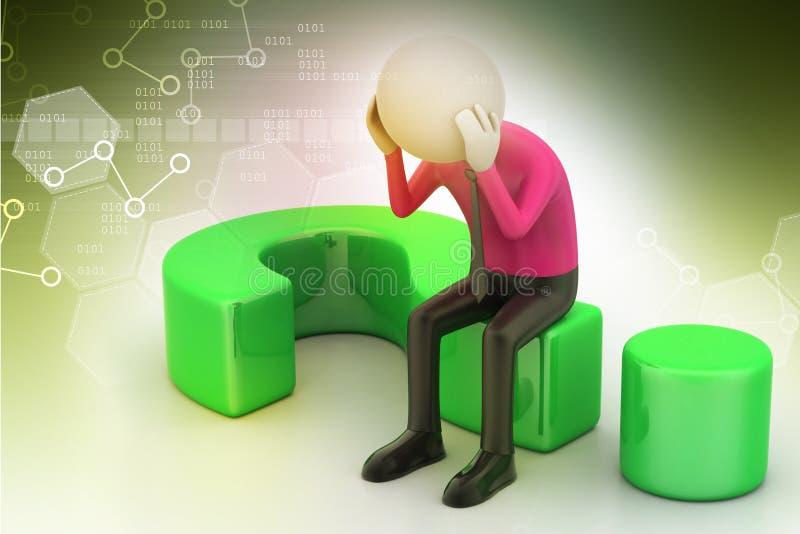Mensenzitting op een vraagteken Bedrijfs concept vector illustratie