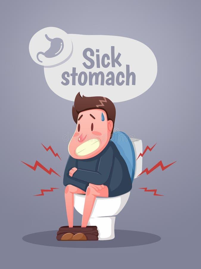 Mensenzitting op het toilet met verstoorde maag en diarree Karakterzitting op het toilet vector illustratie