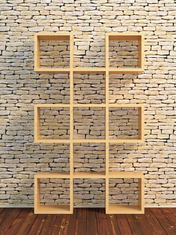 mensola di libro di legno 3d immagine stock