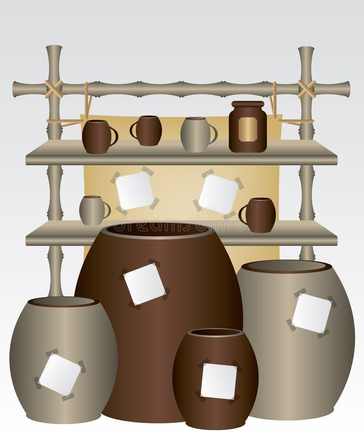 Mensola e tazze di bambù del mercato illustrazione di stock