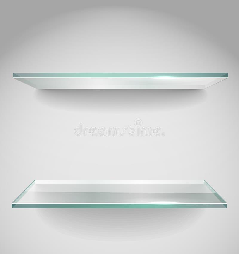 Mensole di vetro di pubblicità vuote illustrazione vettoriale