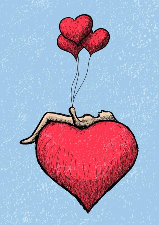 Mensonge au-dessus du coeur illustration libre de droits