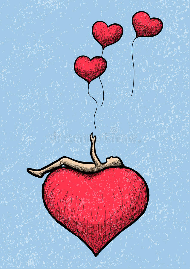 Mensonge au-dessus du coeur illustration stock