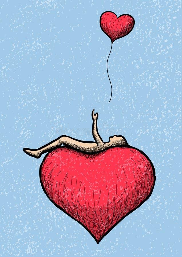 Mensonge au-dessus du coeur illustration de vecteur