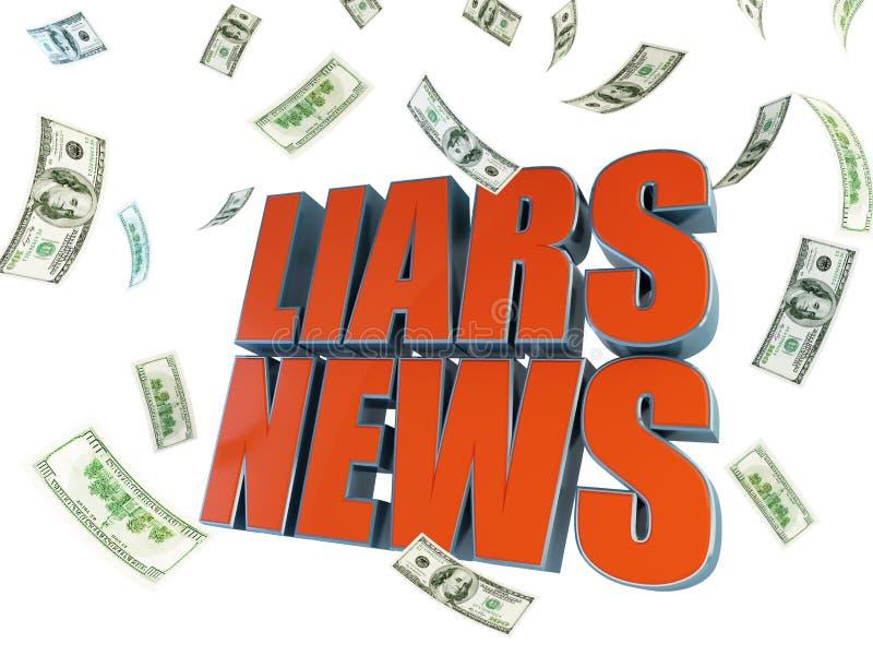 Mensonge au sujet de vendre des actualités pour l'argent illustration stock