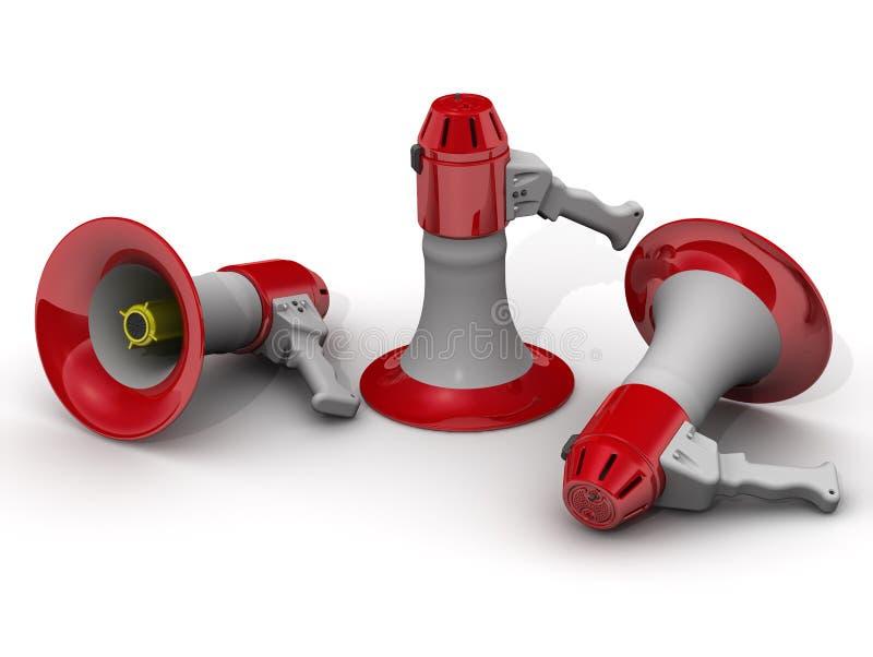 Mensonge de mégaphones sur une surface blanche illustration de vecteur