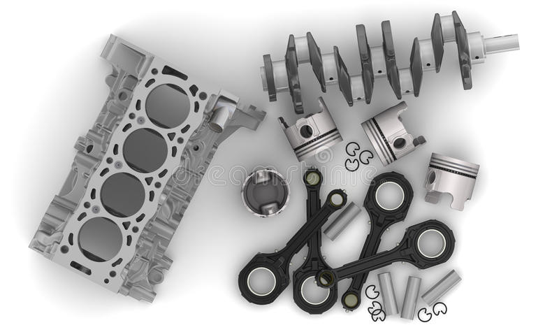 Mensonge de pièces de moteur sur une surface blanche illustration de vecteur