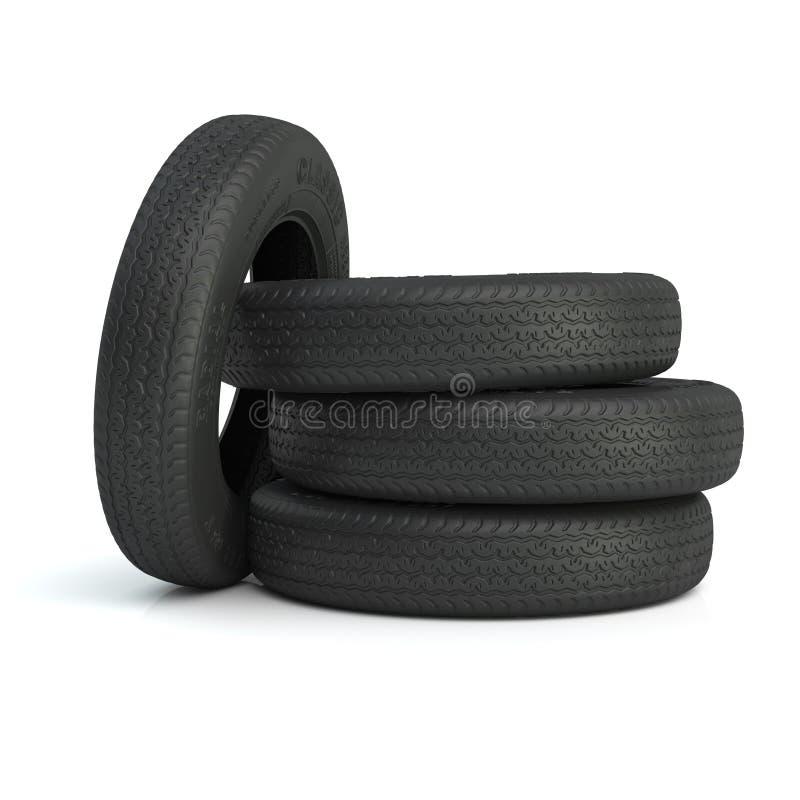 Mensonge de quatre pneus sur l'un l'autre 3d illustration libre de droits