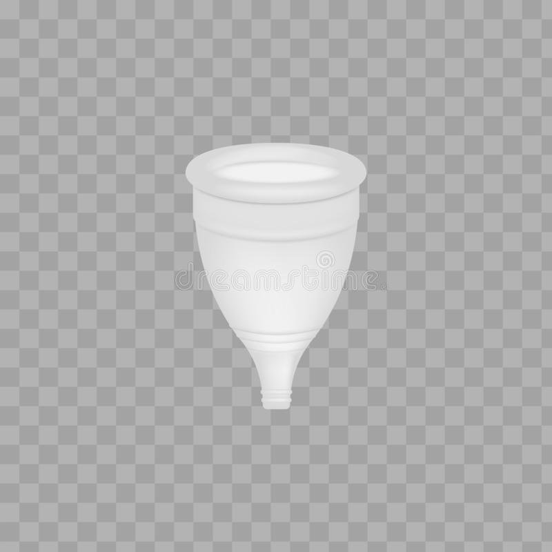Menstrual cup 3D realistic. Feminine hygiene. Color menstrual cup. Protection for woman in critical days. Vector. Illustration on white background royalty free illustration