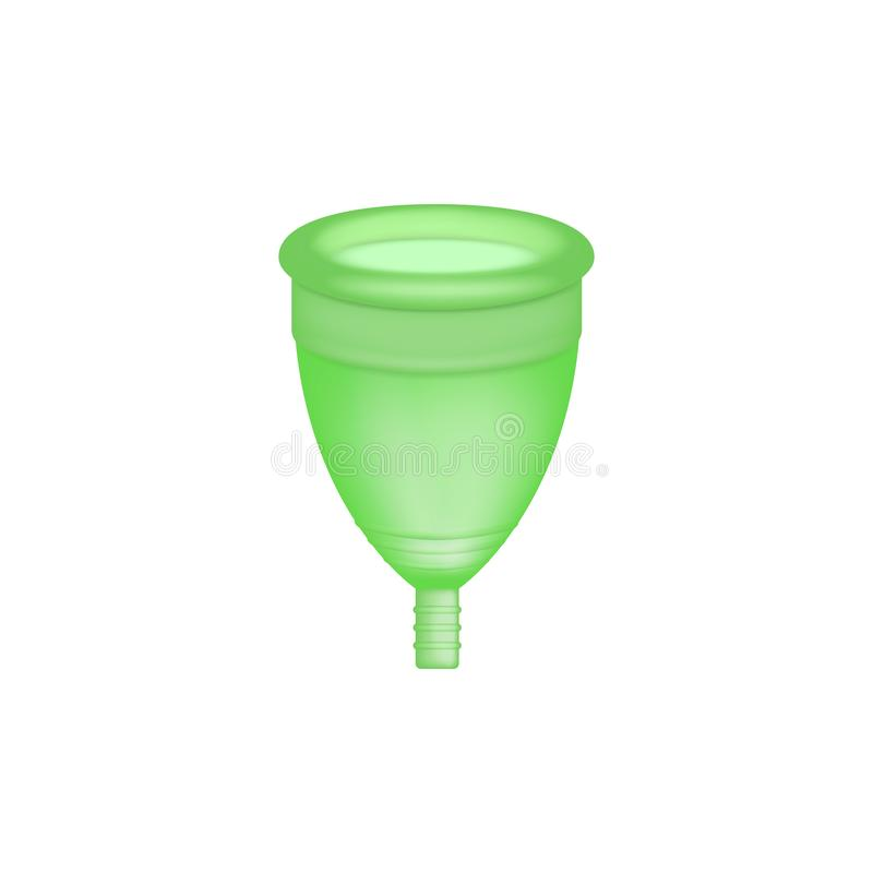 Menstrual cup 3D realistic. Feminine hygiene. Green color menstrual cup. Protection for woman in critical days. Vector. Illustration on white background stock illustration