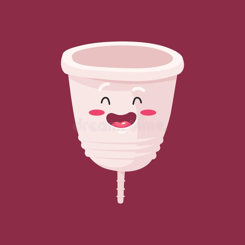 Menstrual cup - feminine hygiene product, device for collecting blood during menstruation and period is used inside the vector illustration