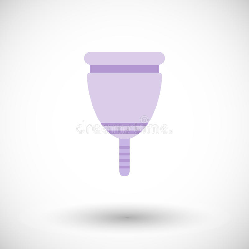 Menstrual cup flat icon. Menstrual cup icon. Flat design of feminine hygiene product with round shadow. Vector illustration stock illustration