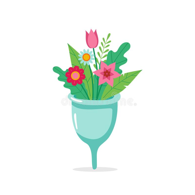 Menstrual cup with flowers. Eco sustainable lifestyle cute concept illustration. Vector illustration in cartoon style. Menstrual cup with flowers. Eco royalty free illustration