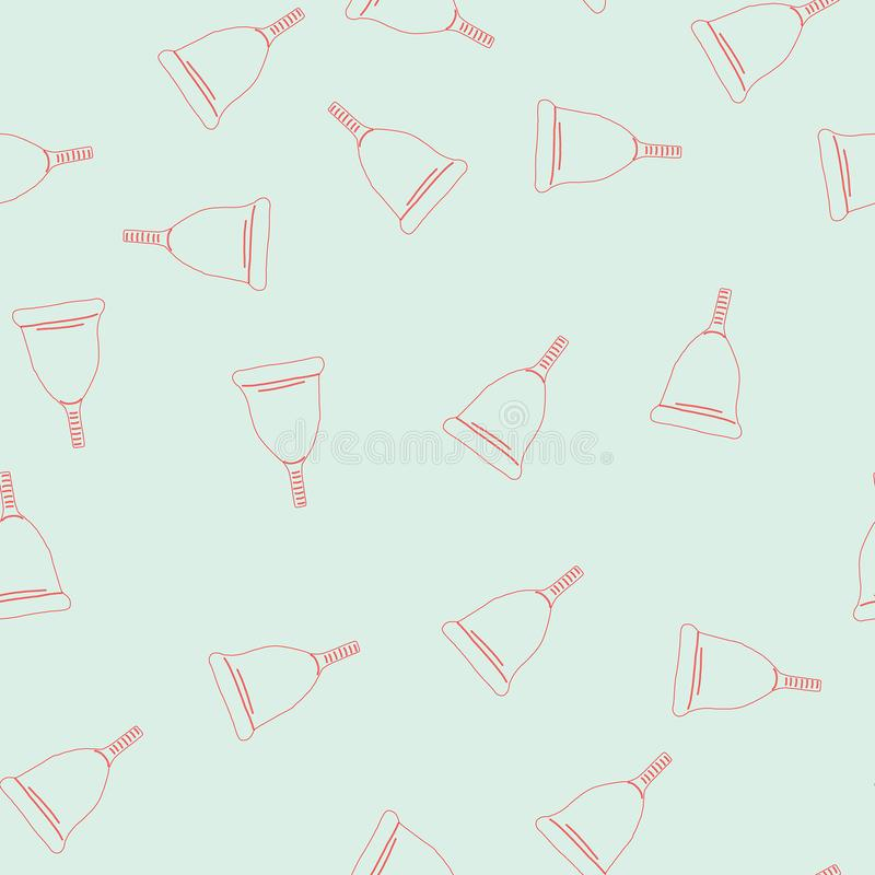 Menstrual cup outline style icons seamless pattern. In flat cartoon vector illustration. Feminine hygiene concept. Blue background vector illustration
