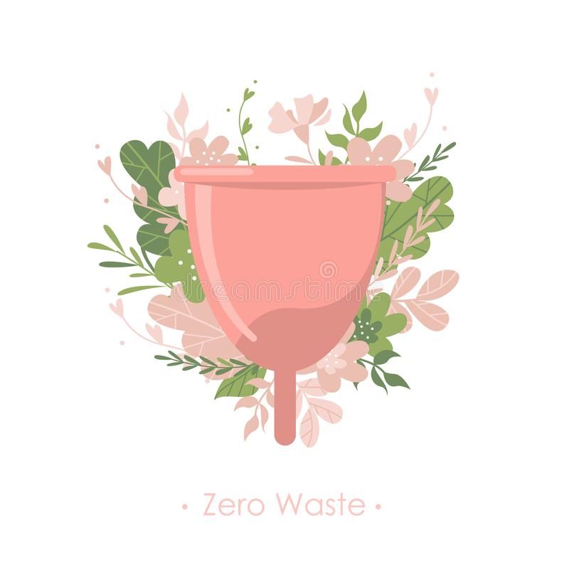 Menstrual cup with plants and flowers on white background. Menstrual cup with plants and flowers. Text Zero waste. Isolated illustration vector illustration