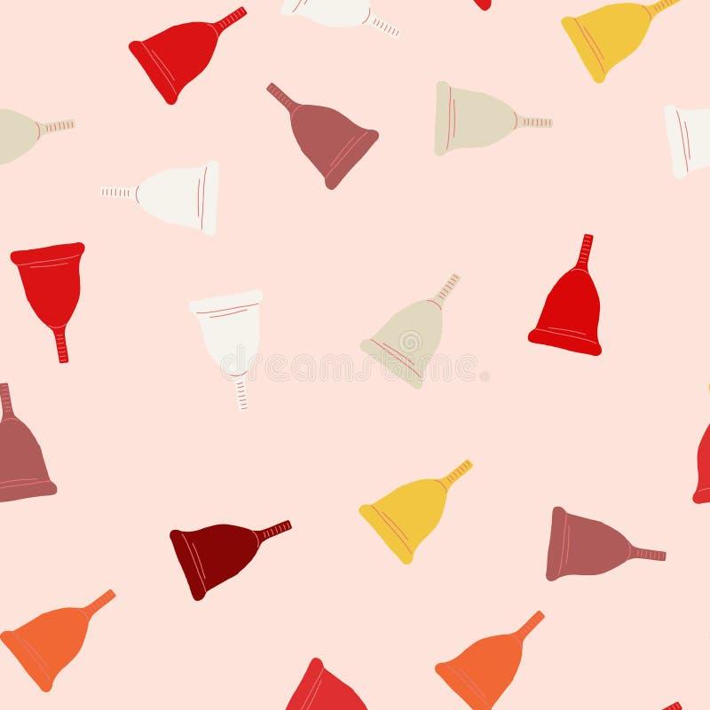 Menstrual cup seamless pattern. Menstrual cup seamless pink background. Menstrual cup seamless pattern in flat cartoon vector illustration. Feminine hygiene stock illustration