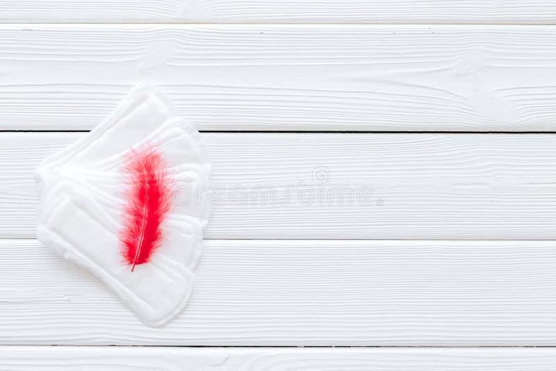 Menstrual okresu pojęcie z sanitarnymi ochraniaczami i czerwieni piórkiem na białej drewnianej tło odgórnego widoku kopii przestr obraz stock