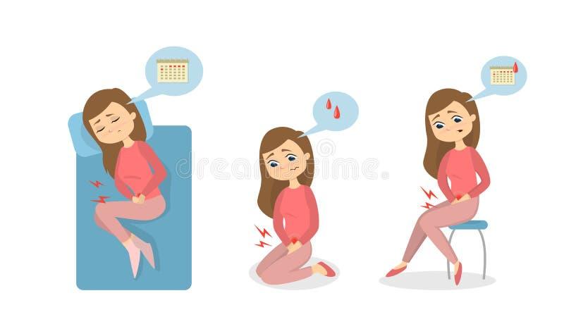 Menstrual pain illustration. vector illustration