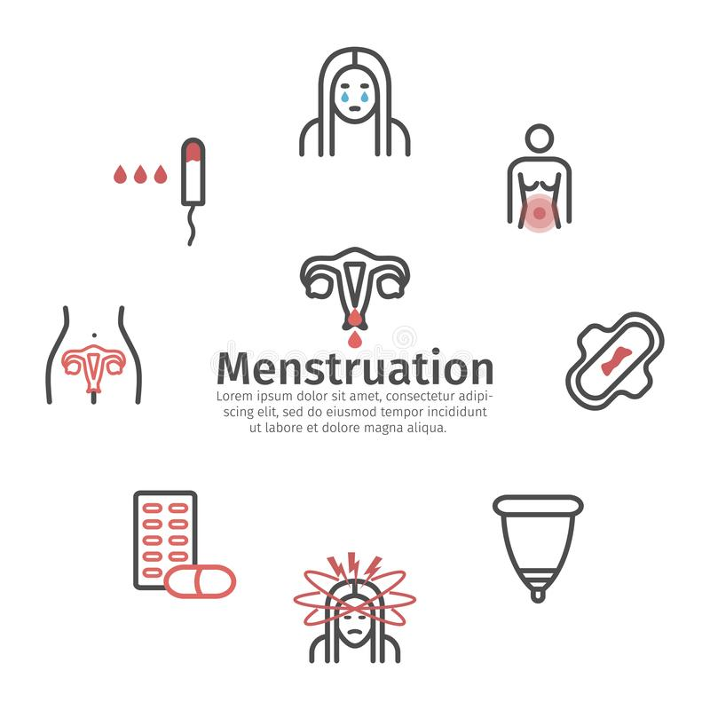 Menstruation banner. Line icons. Vector signs for web graphics. Menstrual pain. Line banner. Vector signs for web graphics royalty free illustration