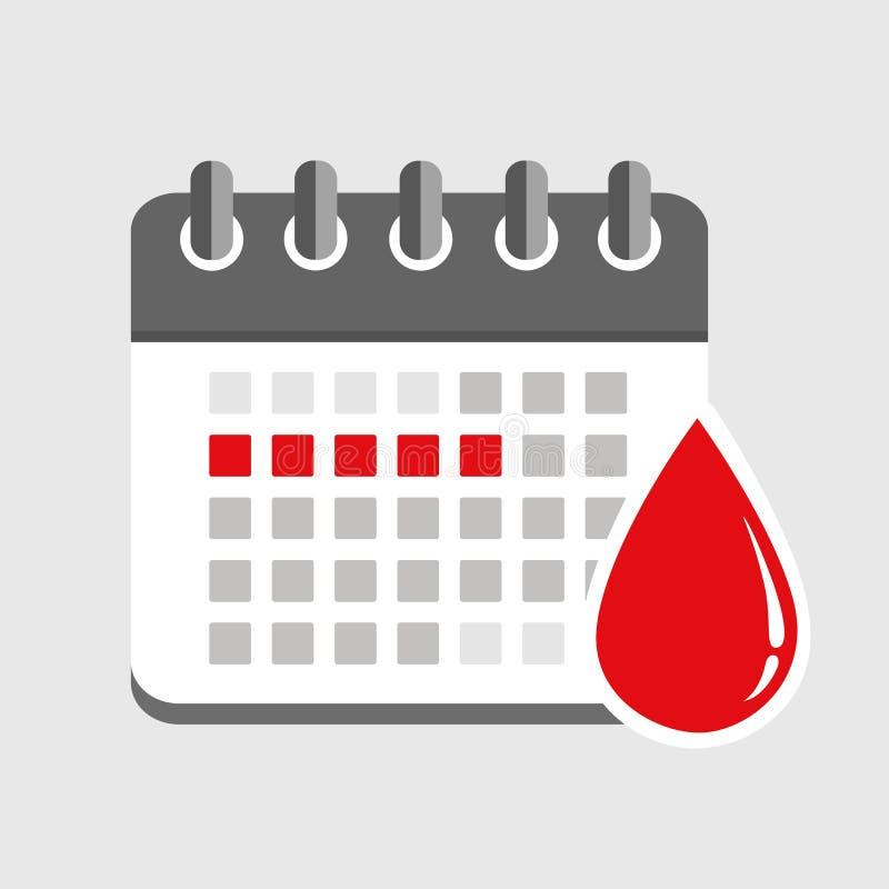 Menstruation calendar red signs of menstrual cycle. Vector illustration EPS10 vector illustration