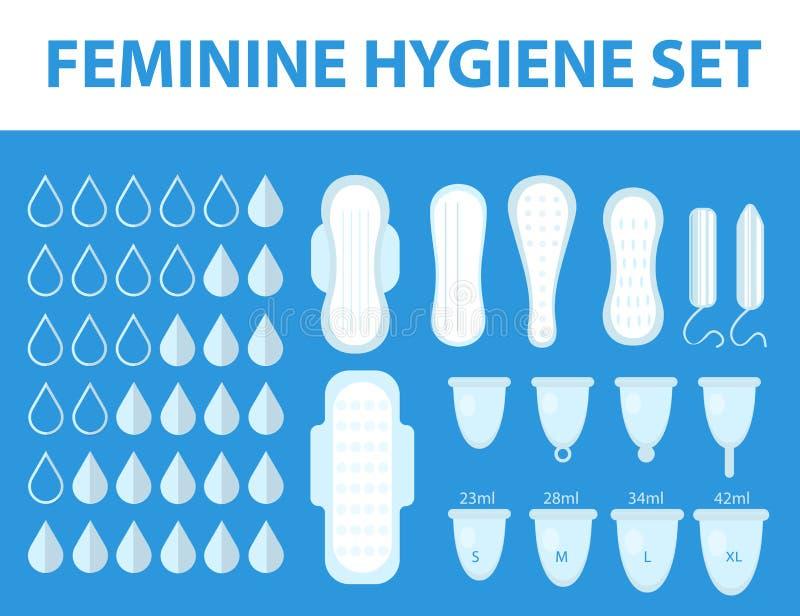 Menstruation feminine hygiene set. Pads, pantyliners, tampons, menstrual cup. Female hygiene products. Women`s hygiene. Flat style. Vector illustration stock illustration