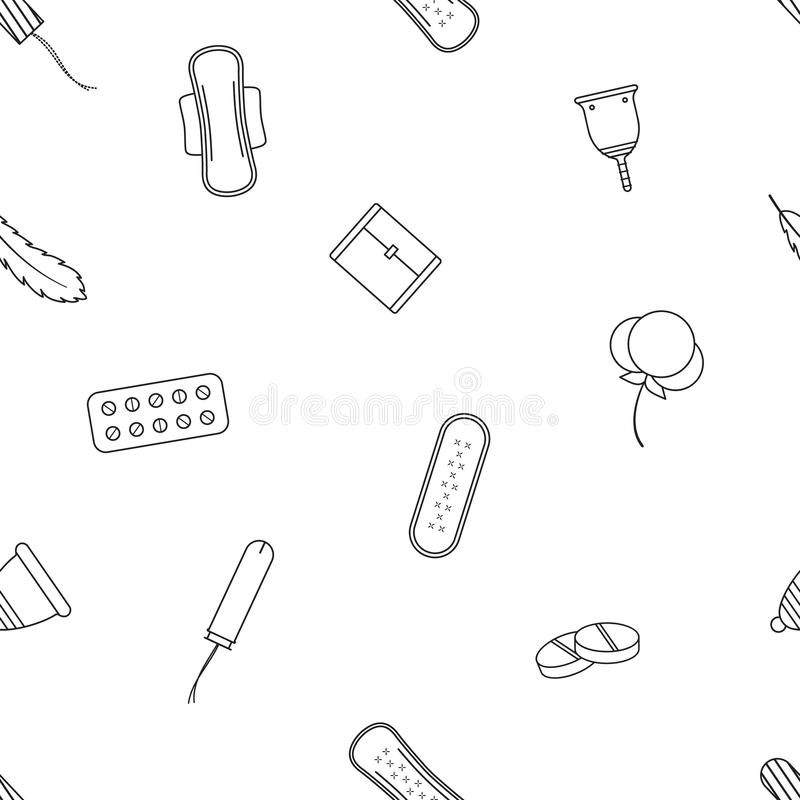 Menstruation flat vector pattern. Seamless contour vector pattern. Outline elements. Background for gynecology. Feminine hygiene products on white background vector illustration