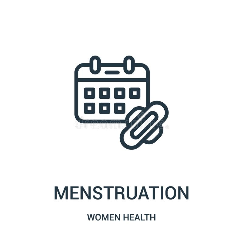 Menstruation icon vector from women health collection. Thin line menstruation outline icon vector illustration. Linear symbol for use on web and mobile apps stock illustration