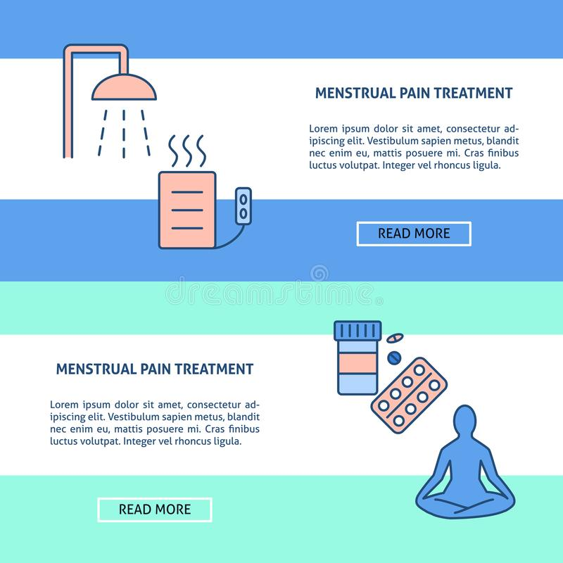 Menstruation pain treatment concept flyer templates in line style. With place for text. Medical banner or poster template. Vector illustration royalty free illustration