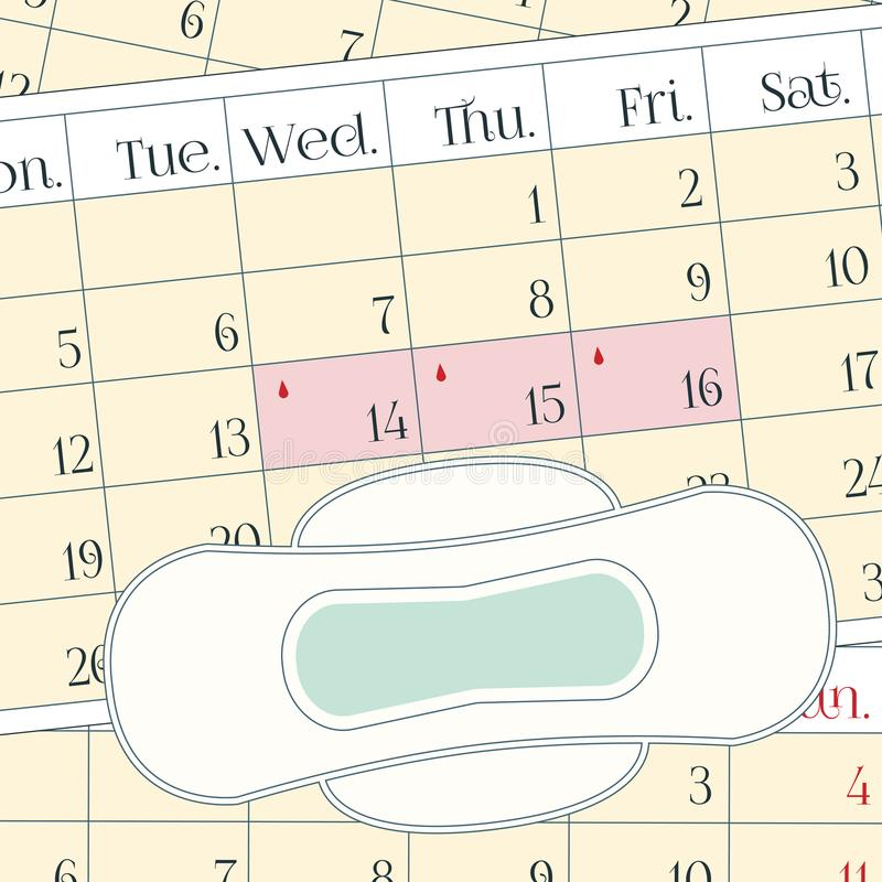 Menstruation period pain protection. Feminine hygiene, monthlies rainy days. A calendar with the menstrual days marks and a menstrual pad. Vector illustration stock illustration