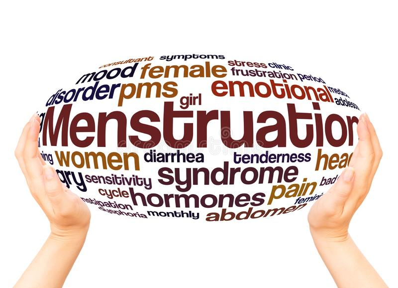 Menstruation word cloud hand sphere concept royalty free stock photography