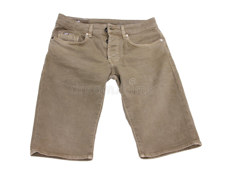 menswear El dril de algodón pone en cortocircuito color beige oscuro fotos de archivo libres de regalías