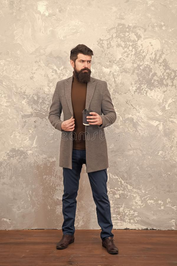 Menswear and fashion concept. Guy brutal fashion model. Business people fashion style. Formal and casual clothes for. Office. Amazing look. Man handsome bearded royalty free stock image