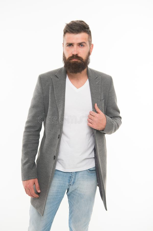 Menswear and fashion concept. Man bearded hipster stylish fashionable jacket. Casual jacket perfect for any occasion. Consultation of stylist. Modern outfit stock image