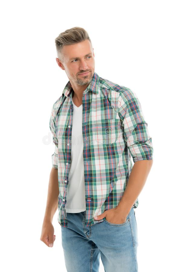 Menswear and fashionable clothing. Man looks handsome in casual style. Guy with bristle wear casual outfit. Handsome man stock photography