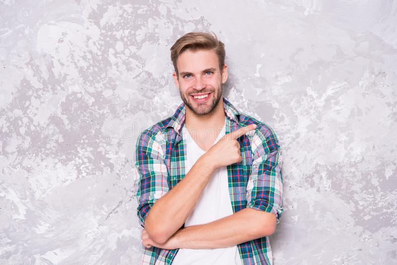 Menswear and fashionable clothing. Man looks handsome casual style. Daily outfit. Model clothes shop. Guy bristle wear royalty free stock images