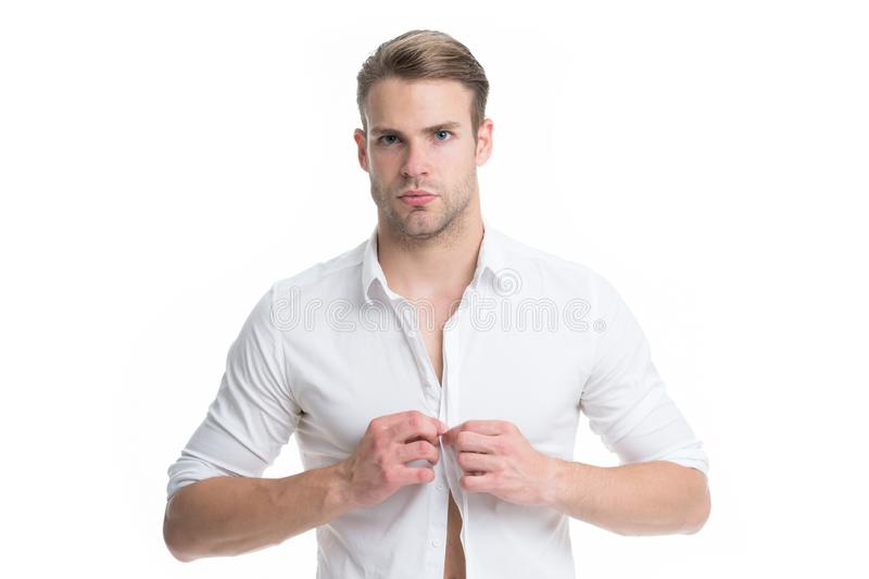 Menswear formal style. Clerical and middle chain management. White collar worker. Man well groomed formal elegant shirt. White background. Guy handsome office royalty free stock photos