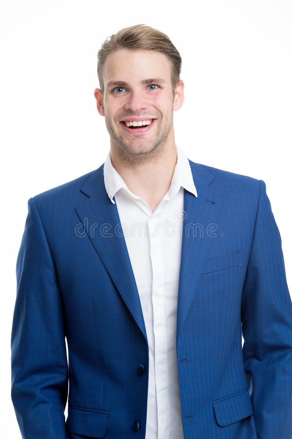 Menswear formal style. Guy handsome office worker. White collar worker. Working formal dress code. Clerical and middle. Chain management. Man well groomed stock images