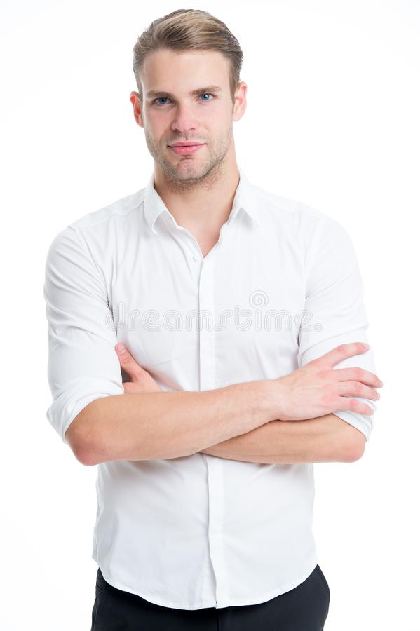 Menswear formal style. Guy handsome office worker. Working formal dress code. Clerical and middle chain management. White collar worker. Man well groomed stock images
