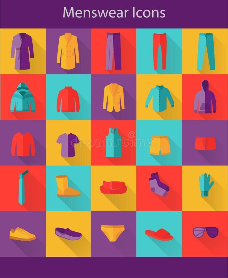 Menswear mieszkania ikony ilustracja wektor