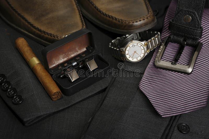Menswear. Variety of stylish menswear closeup stock photo