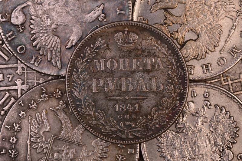 Menta St Petersburg de Rusia 1841 de la rublo de la plata de moneda del fondo del vintage imágenes de archivo libres de regalías