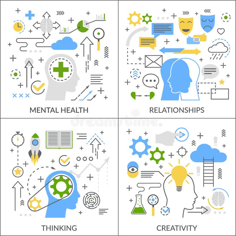 Mental Activity Flat Concept. Mental activity flat linear design concept with psychological health, relationships, creativity, thinking process isolated vector stock illustration