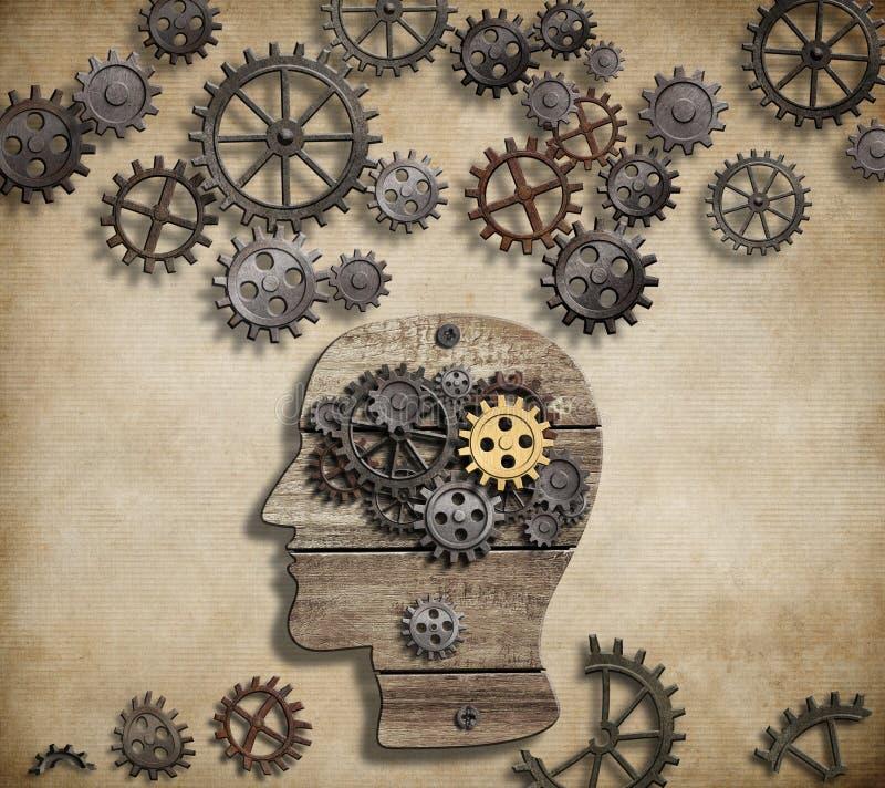 Mental aktivitet för hjärna, psykologi, uppfinning och royaltyfri illustrationer