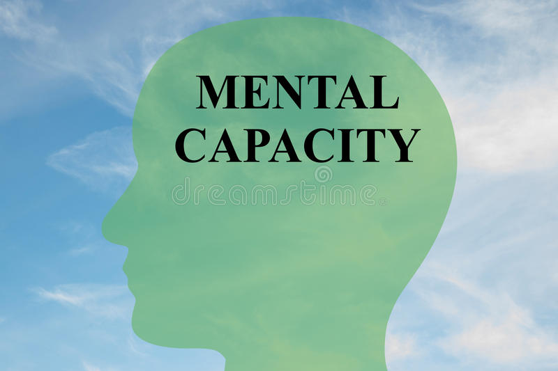 Mental Capacity concept. Render illustration of MENTAL CAPACITY script on head silhouette, with cloudy sky as a background stock illustration