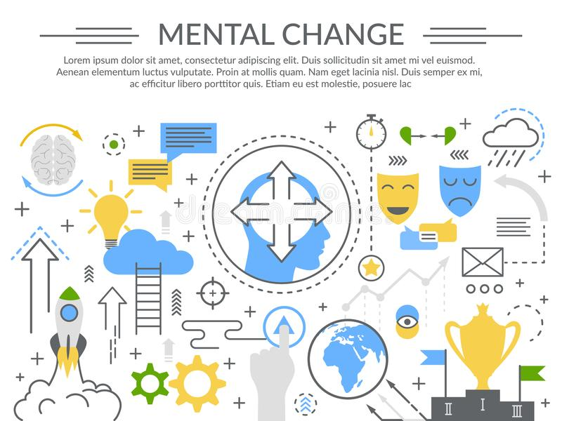 Mental Change Concept Flat Composition royalty free illustration