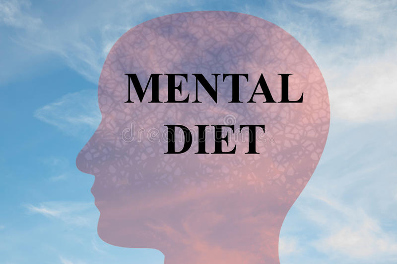 Mental Diet concept. Render illustration of MENTAL DIET title on head silhouette, with cloudy sky as a background stock illustration