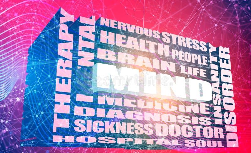 Mental disorder concept. Mind word relative words list. Mental disorder relative tags cloud. 3D rendering royalty free illustration
