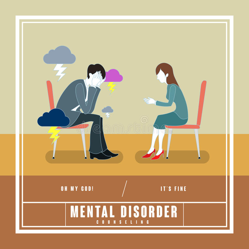 Mental disorder counseling concept. In flat design stock illustration