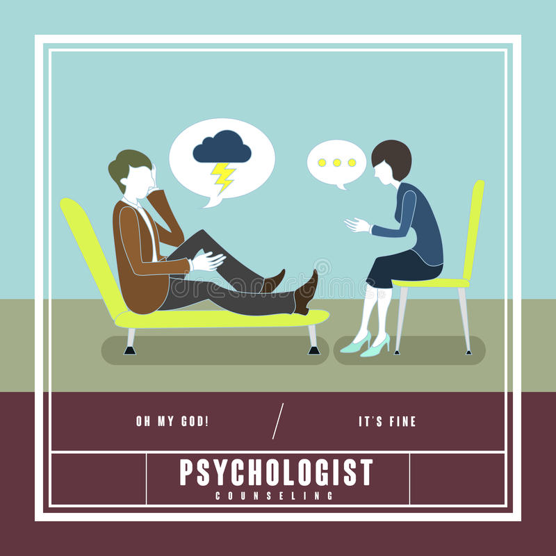 Mental disorder counseling concept. In flat design vector illustration