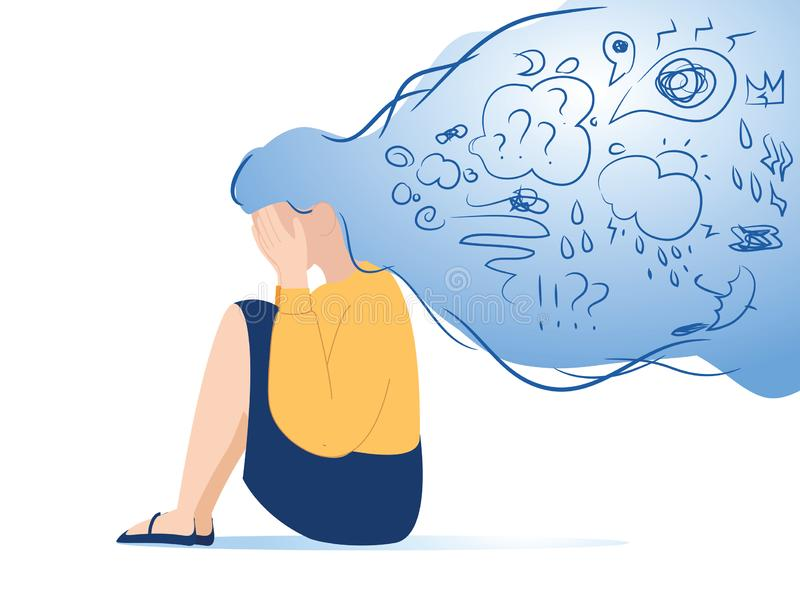 Mental disorder, finding answers, confusion concept. Woman suffering from depression, closing face with palms in despair vector illustration